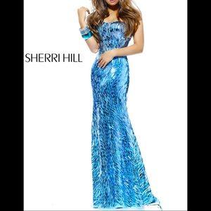 Sherri hill blue sequin prom dress 2907 size 00